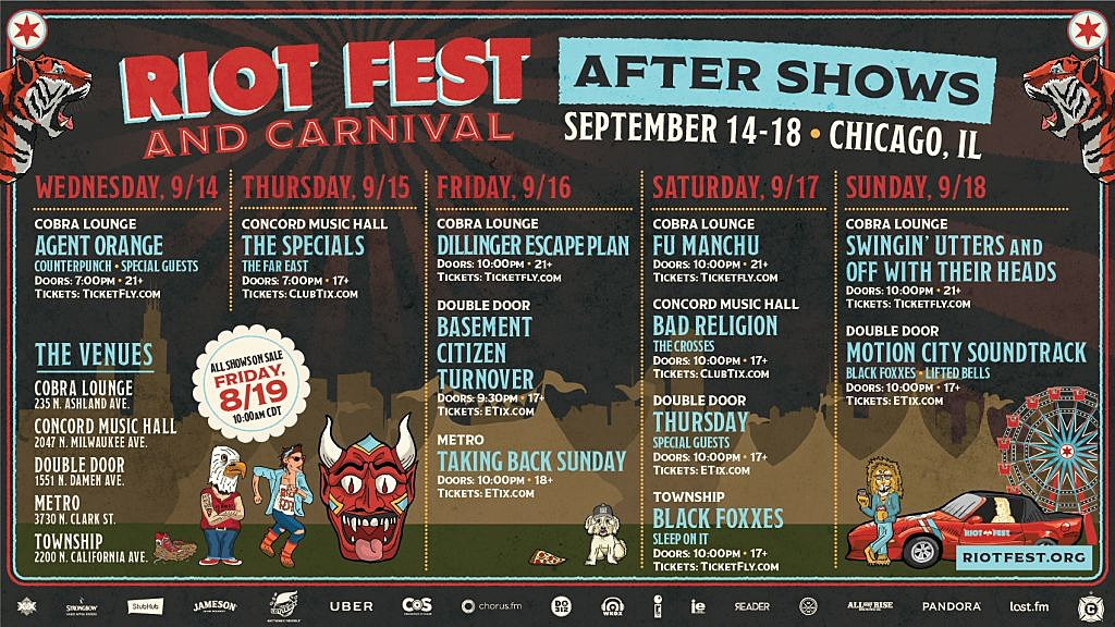Riot Fest Chicago Aftershows
